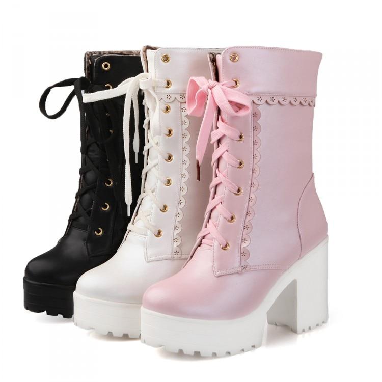 Chunky Lace Platform Boots 1