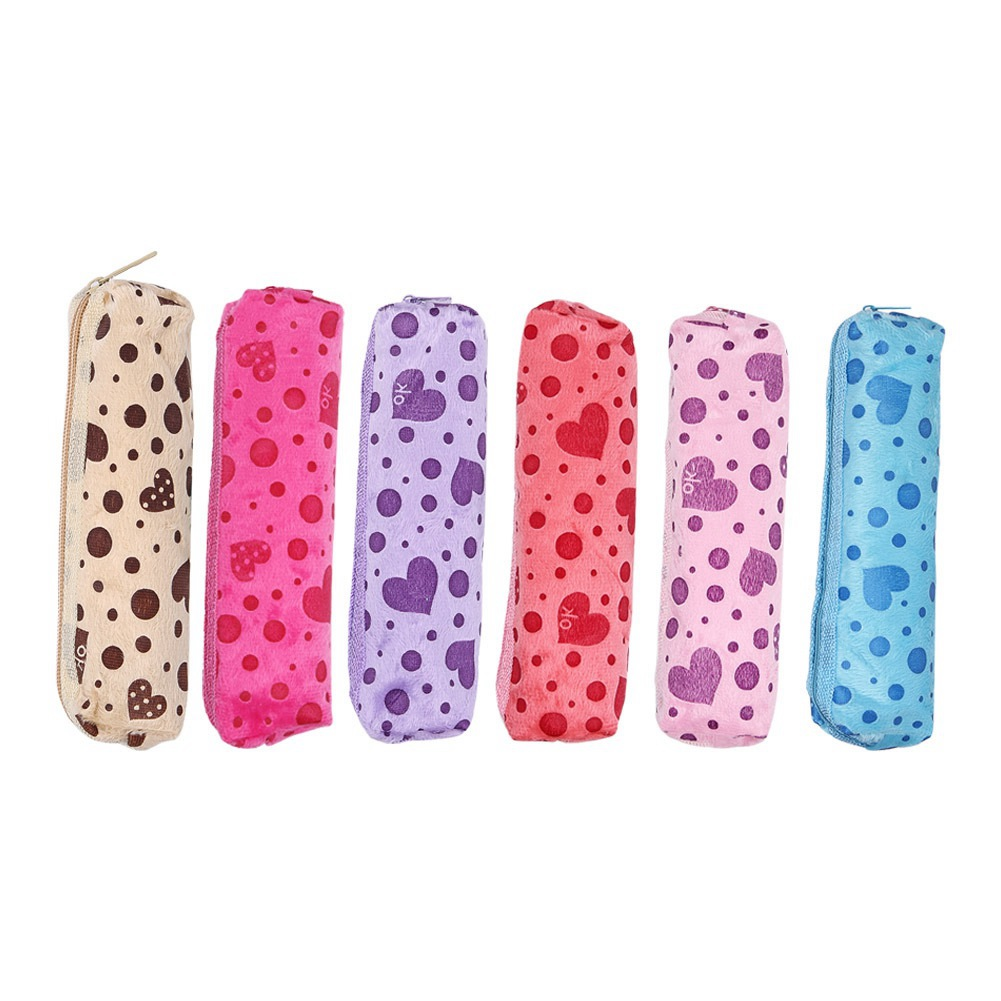 1PC Candy Colors Cosmetic Case Dot Heart Printed Velvet Cute Cosmetic Bags Long Makeup Case Girl Female Zipper Pencil Bags