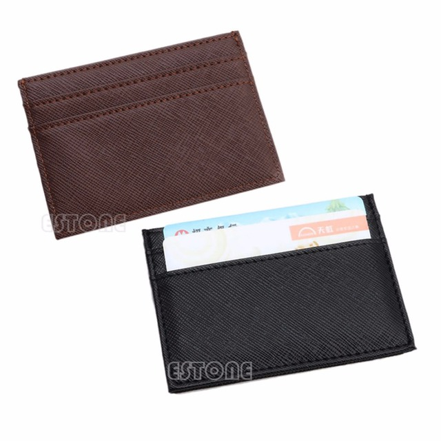 1a6451fb12ee New Men s Womens Faux Leather Small Id Credit Card Wallet Holder Slim  Pocket Case