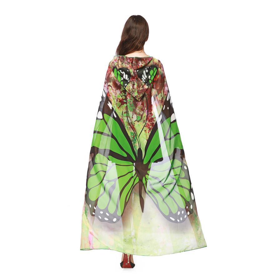2017 New Summer Beach Women Novelty Print Chiffon Wing Cape Scarf dress Chiffon Kaftan Bikini Wrap Pashmina Scarves %