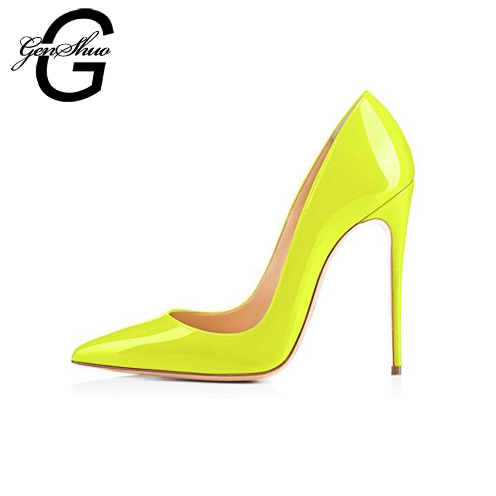 GENSHUO Fluorescent yellow High Heels Shoes Women Pumps Pointed-Toe Stiletto Heels Shoes Woman Wedding Party Shoes Size 6-12 2018 new pointed toe crystal high heels shoes woman yellow suede bowtie stiletto pumps ladies fashion party wedding dress shoes