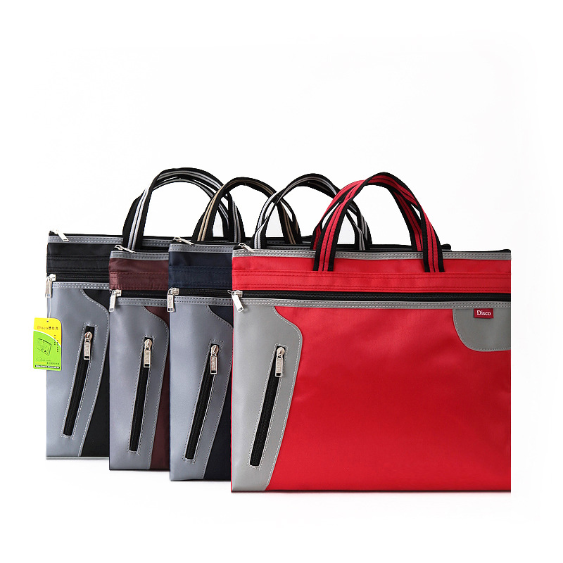 A4 Waterproof File Bag Zipper Canvas Large Capacity Double File Package Document Bag Office Business Briefcase Filing Products