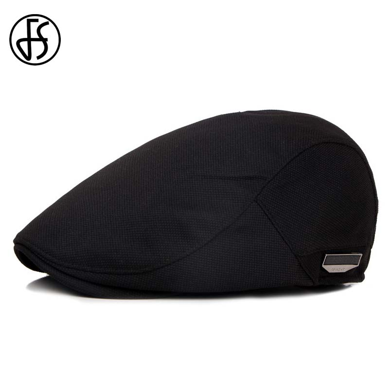 FS Fashion Flat Caps For Men Hat Unisex Beret Cap Women Summer Casual Sun Breathable Hats Black Berets Cabbie 2019 Chapeau Homme(China)
