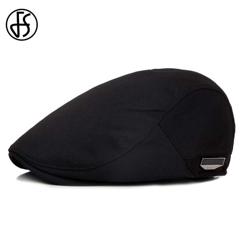 FS Fashion Flat Caps For Men Hat Unisex Beret Cap Women Summer Casual Sun Breathable Hats Black Berets Cabbie 2019 Chapeau Homme