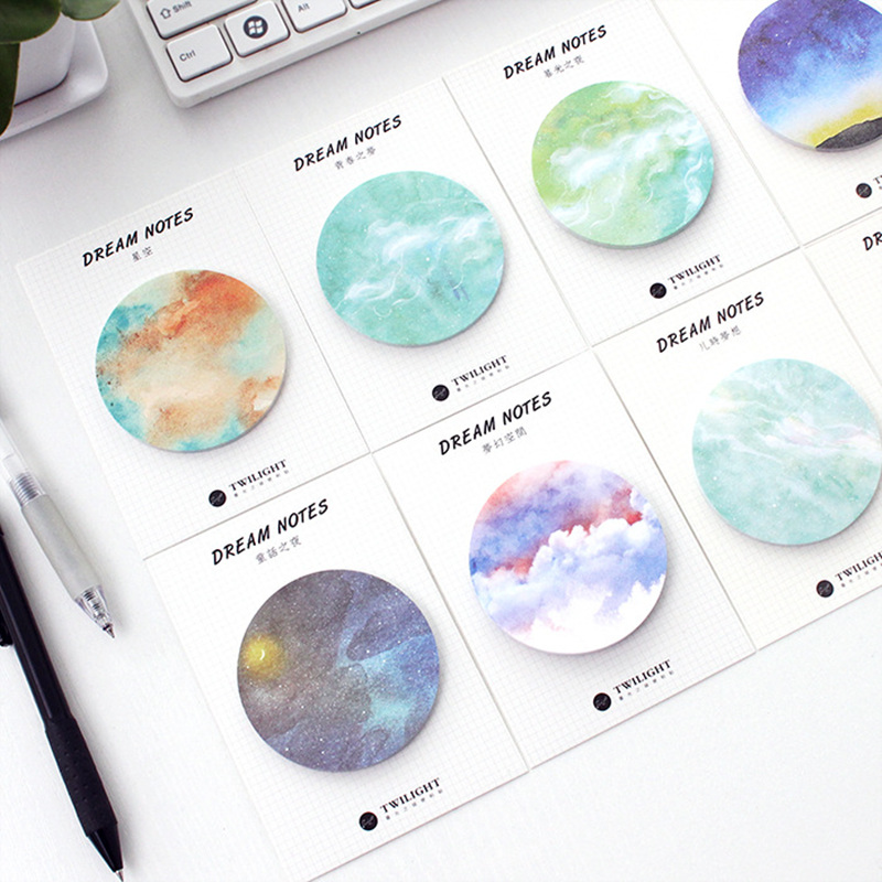 8 Pcs Dream Note Starry Memo Pad Planet Sticky Note Decorative Sticker Stationery Items Office Material School Supplies A6665