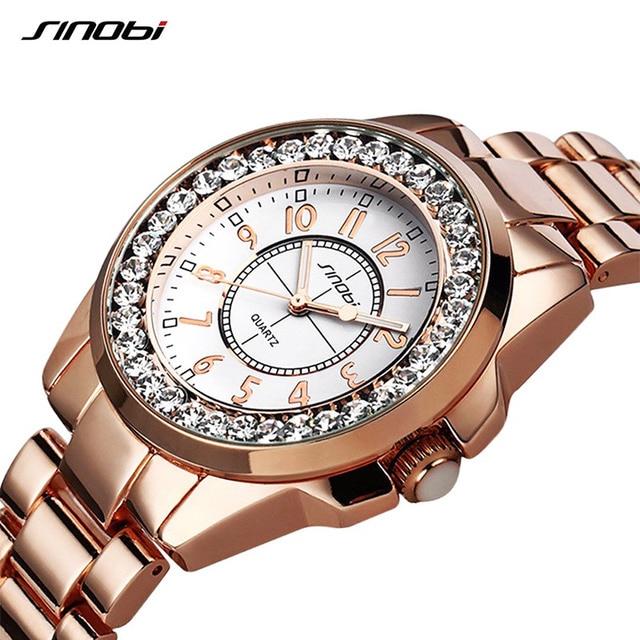 SINOBI Для женщин кварцевые часы уникальные Роскошный Кристалл Круглый циферблат Повседневное элегантность женская одежда модные наручные часы Relogio Femininos