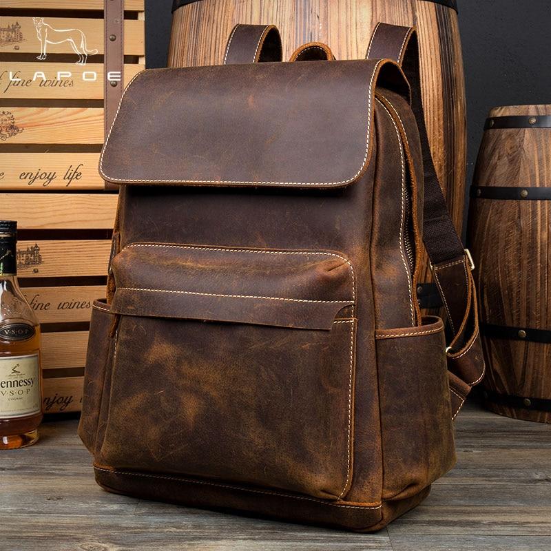 Lapoe Genuine Crazy Horse Leather Backpack Men Vintage Mochila Hombre Teenage Backpack Travel Bag School Mochila Hombre Moda