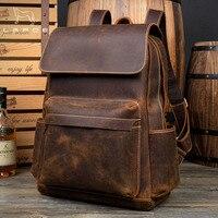 Lapoe Подлинная Crazy Horse кожаный рюкзак мужские винтажные Mochila Hombre подростковый рюкзак дорожная сумка Школа Mochila Hombre Moda