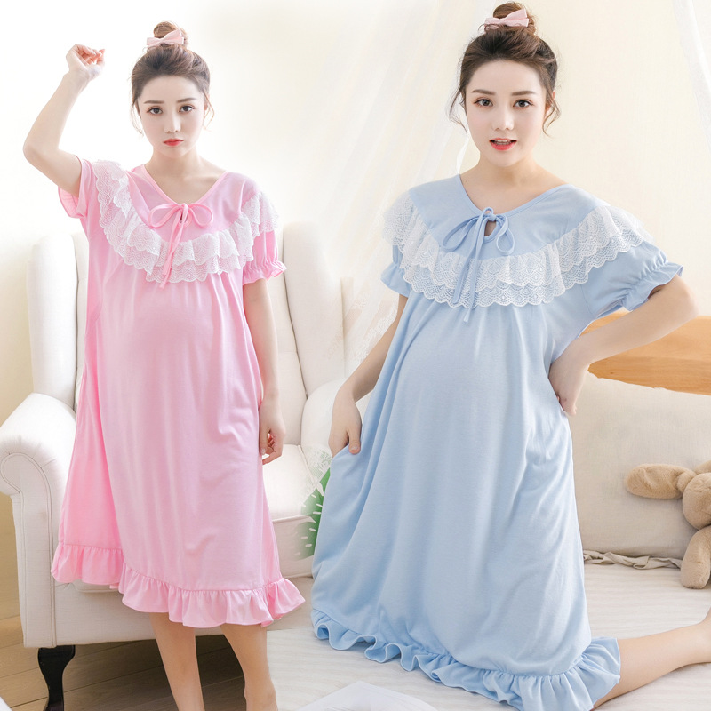 Summer Lace Maternity Pajamas Nursing Pyjamas Set Sleep Clothes for Pregnant Women Sleepwear short sleeve dress month suits out