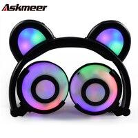 Askmeer Y09 Glowing Bear Ear Headphones Cute Flashing LED Cartoon Earphones Kid Bass Stereo Gaming Headset