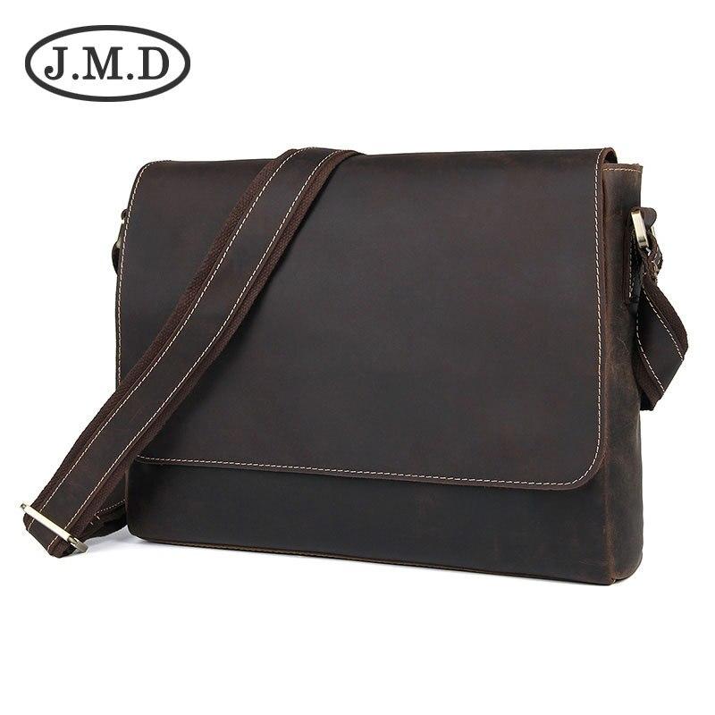J.M.D 2019 New Men's Retro Genuine Leather Shoulder Messenger Bag Handbag 1036