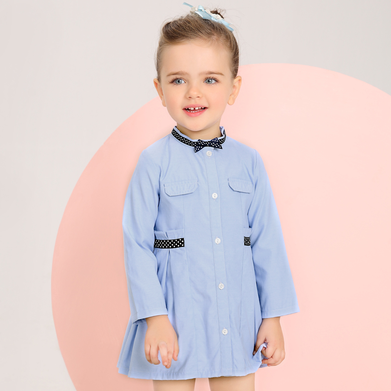 Simyke Girls Dress with long sleeves Little girl Woven Oxford dress Spring New Arrival girls clothing kid children clothes W8112 new arrival children s dress summer spring fall girl princess dress 100% cotton short sleeves girls dress 4 9y