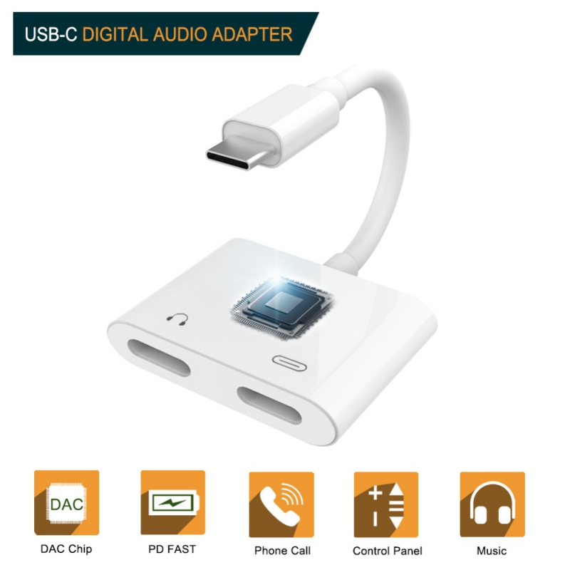 2 In 1 Dual Type-C Jack Adapter PD Fast Charging Charger USB Type C Plug Headphone Earphone Aux Audio Cable Splitter Converte