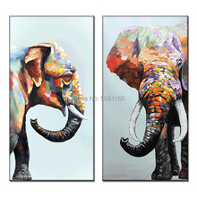 Huge Elephant Wall Art vertical Hand-painted Abstract Oil Painting on Canvas Big animal elephant wall picture for Living Room