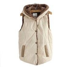 2017 Women Spring & Autumn Waistcoats Length Jacket Hooded Thick Cotton Coat Warm Velvet Sleeveless Vests Female Plus Size