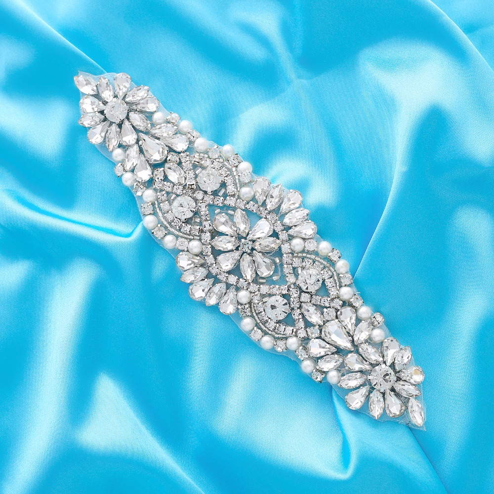 Crystal Bridal Belt With Ribbon Silver Wedding Belt Rhinestones Bridal Sash For Wedding Party Dress Handmade J103S