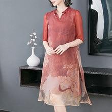 Silk Dresses Women 2019 boho Natural Plus Size Dress Xxl Xxxl High Quality Elegant Vintage Robe Red Summer Clothes