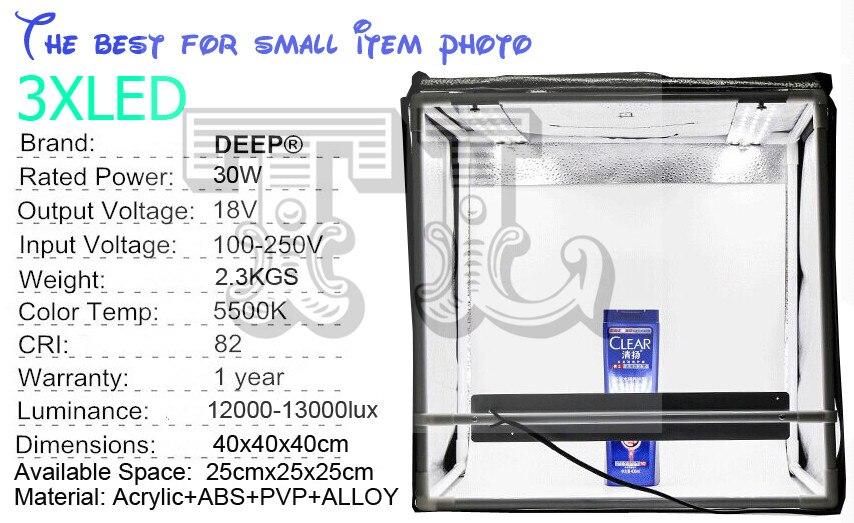 bilder für 3 STÜCKE LED DHL 40x40 CM Foto Studio softbox schießen Licht Zelt foto licht zelt + portable tasche + 3 Backdrops + dimmer schalter