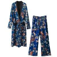 Women S Business Suit 2 Piece Set Women Suit Full Sleeve Long Kimono Tops And Loose