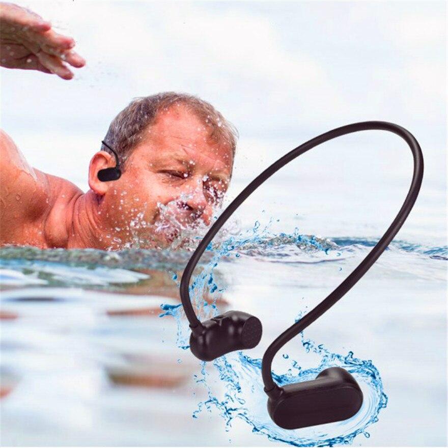 Conduction osseuse musique Ipx8 étanche Hifi 8g mp3 Fitness casque étanche écouteur haut-parleur aide auditive casque de plongée