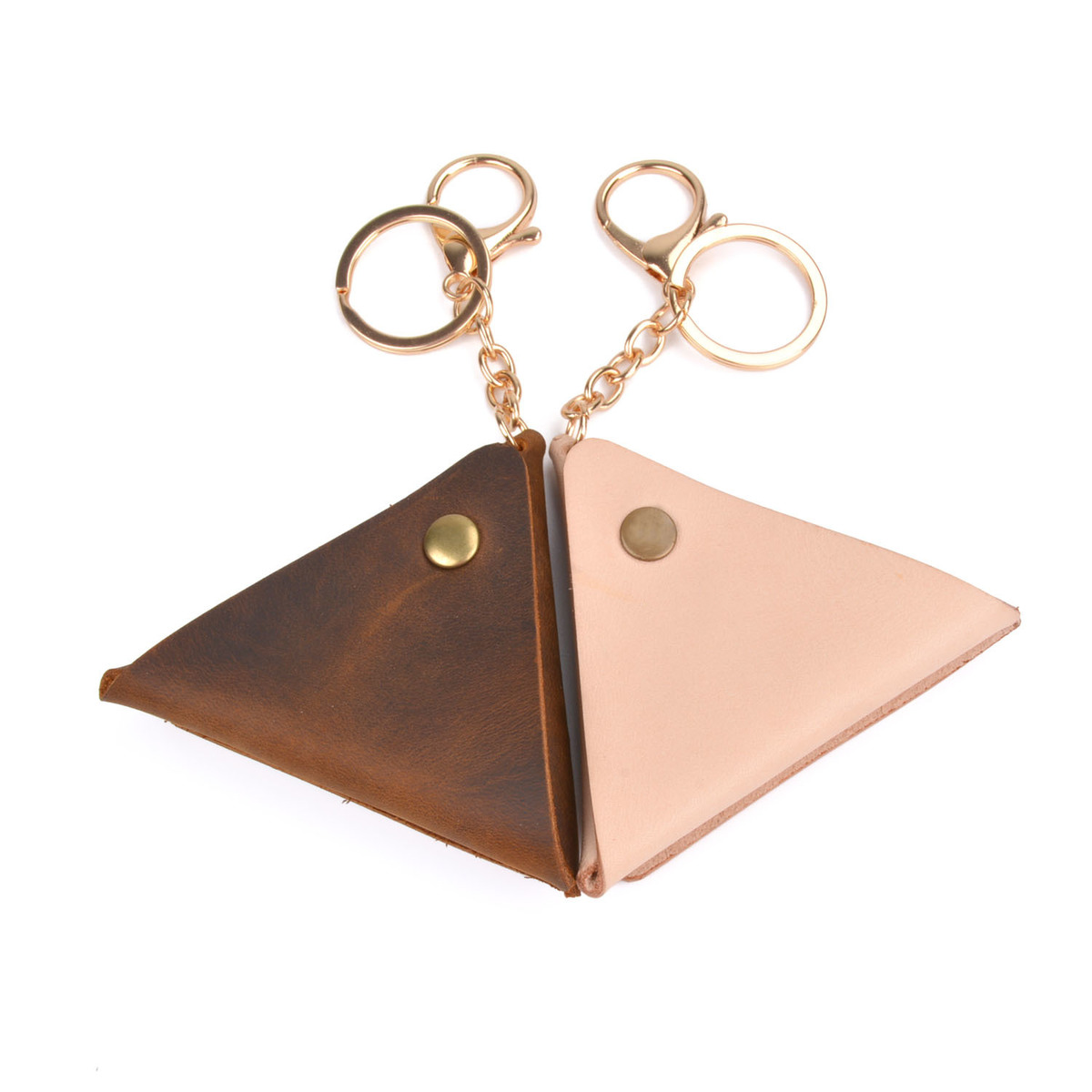 High-end Leather Classic Simple Triangle Handmade Coin Purse With Key Ring Hasp Practical Cool Personality Cow Leather Small Bag