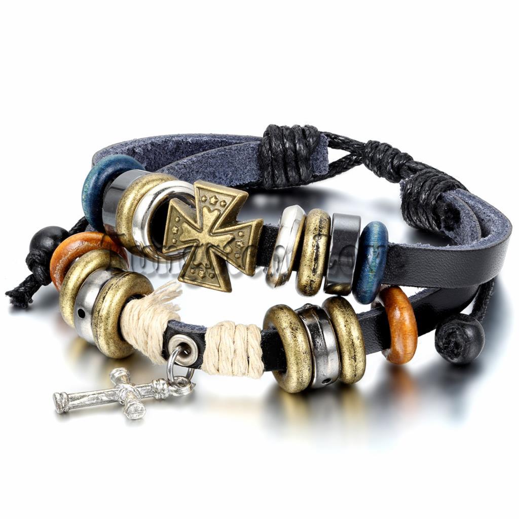 Tribal Style Men Women's Alloy Leather Strand Bracelet Bangle Wood Beads  Rope Cross Surfer Braided Adjustable