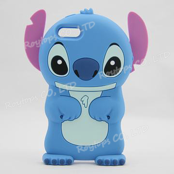 3D Silicone Cute Stitch Movable Ear Flip Soft Case for Apple New iPhone 5