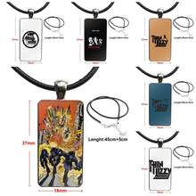 Rock Hip Hop Thin Lizzy Logo For Women Christmas Gift Glass Pendant Necklace Handmade Half Pendant Rectangle Necklace(China)
