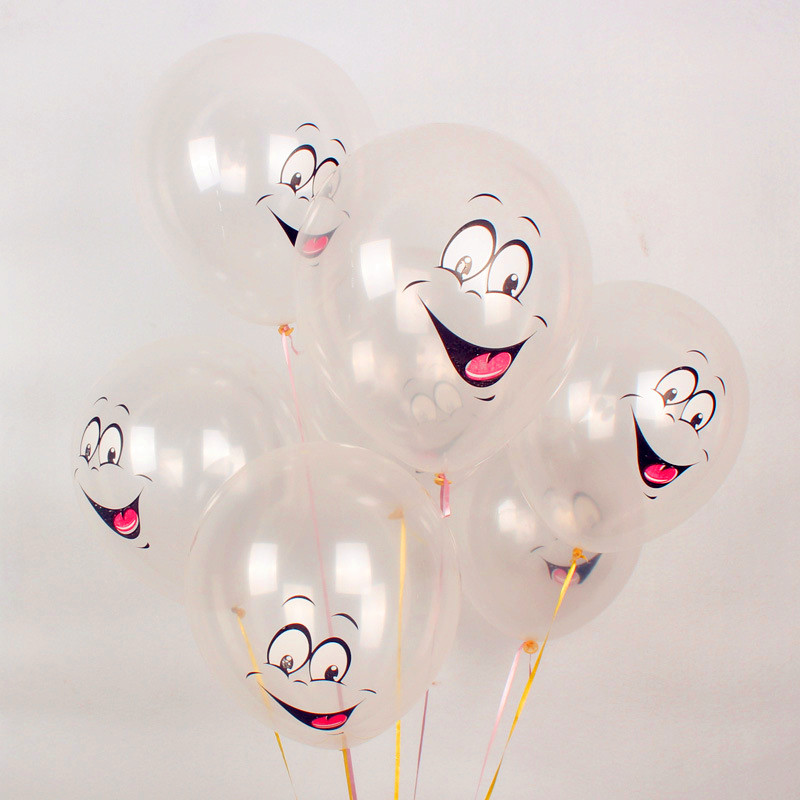 50pcs12inch Round balloons Childrens Day gift thicker Transparent balloon printed Cartoon Face Expression Latex Party Balloons