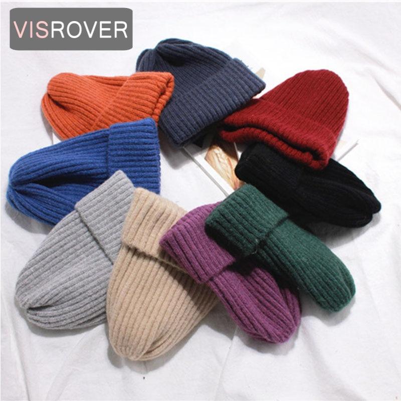 VISROVER 9 colorsways simple acrylic   Beanie   unisex Winter Hats For Women Crochet Knit Cap   Skullies     Beanies   Warm Caps Female hat