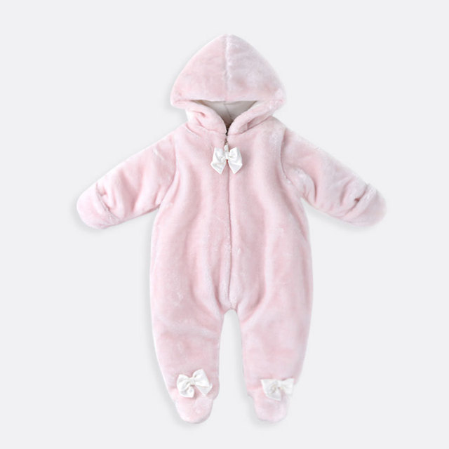 Coat Winter Pink Baby Girl Rompers Coat Fluff Baby Jumpsuit Coat YL143