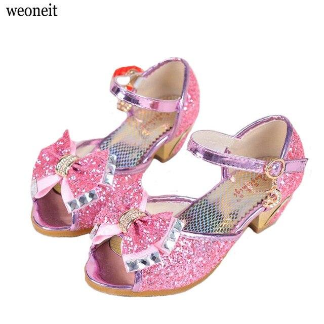 9636ca66832bd Weoneit Enfants 2019 Enfants princesse sandales Enfants filles chaussures  de mariage talons hauts robe chaussures de