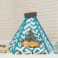 Hot Pets Teepee Dogs Cats Rabbits Bed Cotton Canvas Portable Striped Pet Tents Houses with Cushions XJS789