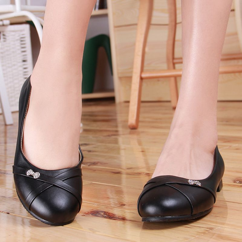 Oxford Shoes For Women Large Size 34-47 Women's Fashion Shoes Woman Flats Spring Female Ballet Metal Round Toe Solid Casual 062