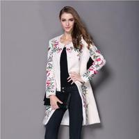 White Black Red Women Wool Coat Ladies Woolen Coat Chinese Traditional Embroidery Embroidered Coats For Womens