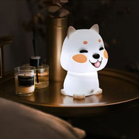 Silicone Cute DogTouch Sensor LED Night Light For Children Baby Kids 2 Colors Dog LED USB Rechagarble LED Night Lamp MY
