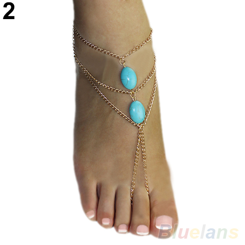 2016 2 types ankle Bracelet Bangle Slave Chain Link Finger Hand Harness Turquoise Anklets Chain 01US