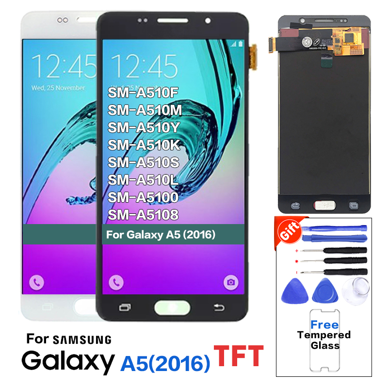 TFT LCDs For <font><b>Samsung</b></font> <font><b>Galaxy</b></font> A5 2016 <font><b>A510</b></font> A510F A510M A510FD A5100 <font><b>LCD</b></font> Display Touch Digitizer Screen With Brightness adjust image