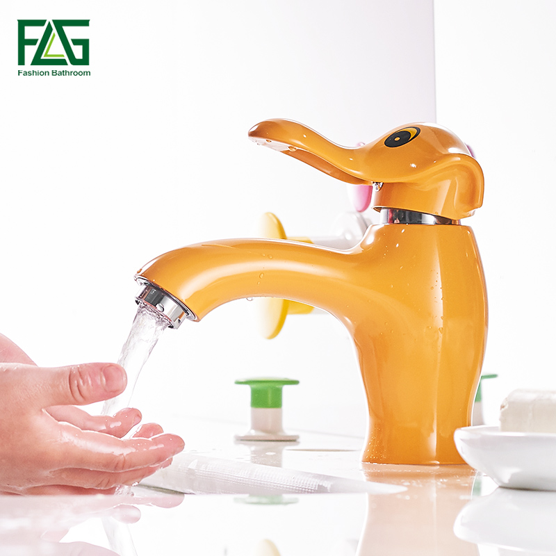 FLG Newest Bathroom Basin Faucet Lovely Children Single Handle Hot And Cold Water Ceramic Sink Basin Tap Orange Mixer Faucet newest washbasin design single hole one handle bathroom basin faucet mixer tap hot and cold water orb chrome brusehd