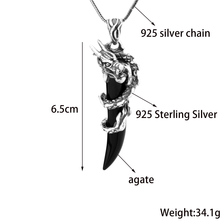 MetJakt Punk Dragon pendentif avec Agate solide 925 pendentif en argent Sterling collier et 16-32 pouces chaîne de serpent - 2