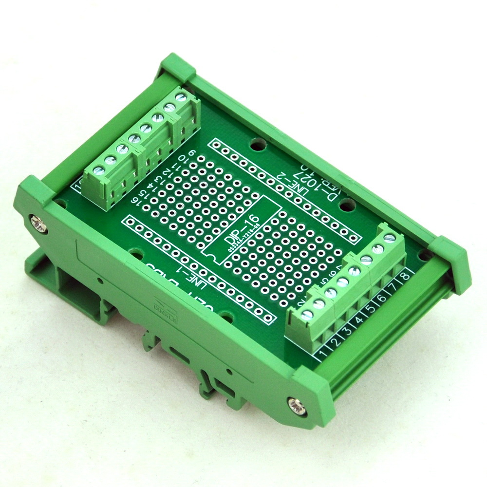 DIP-16 Component to Screw Terminal Adapter Board, w/HQ DIN Rail Mount Carrier. lc78211 dip 30
