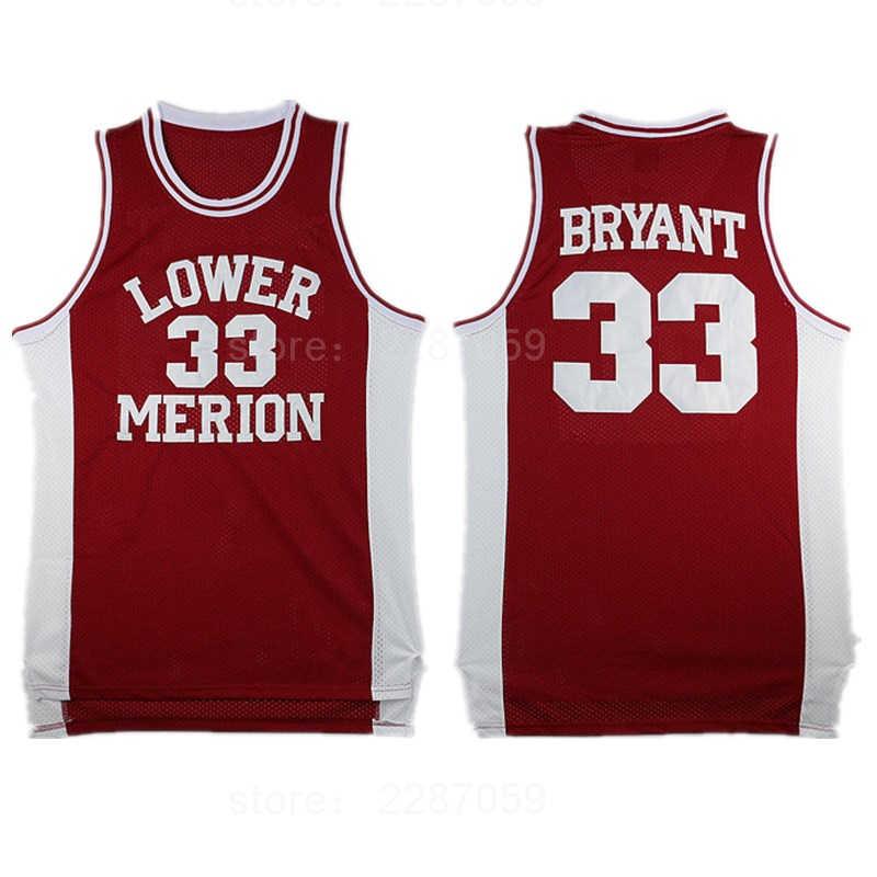 Ediwallen Lower Merion College 33 Kobe Bryant Jersey 44 Men Hightower  Crenshaw High School Basketball Jerseys 5ad5eefae