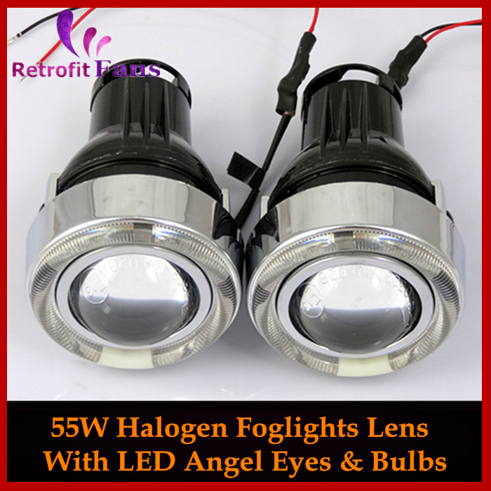 ФОТО Automotive 2.5'' Halogen Foglights Lens Projector Driving Lamps+ LED Angel Eyes Halo White Blue Red Green Car Styling Retrofit