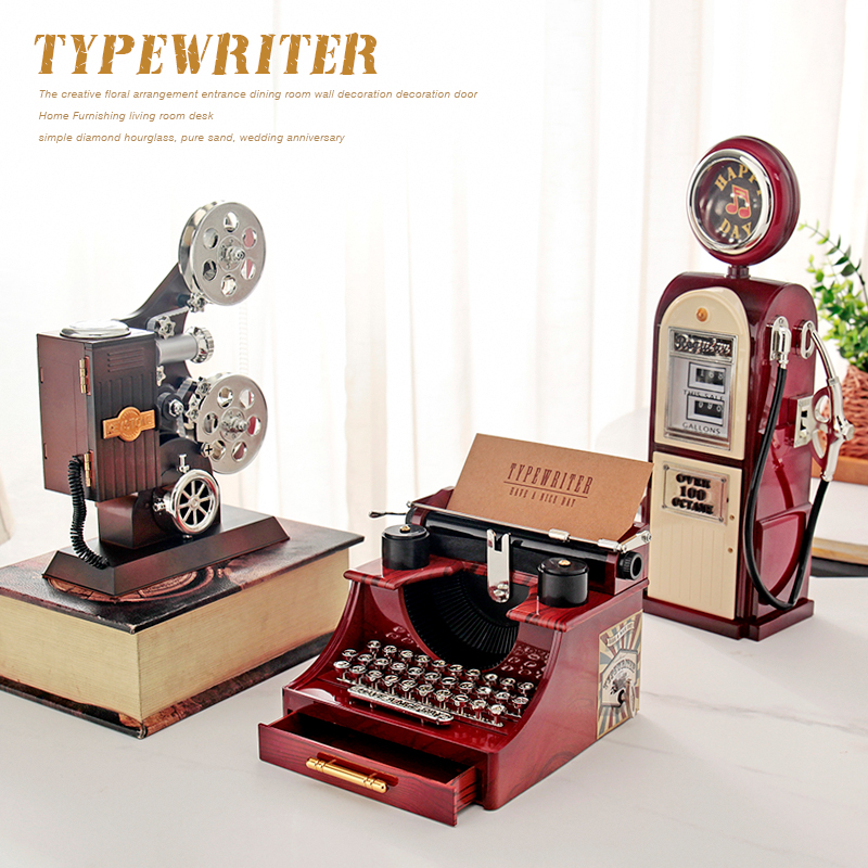 Retro Nostalgic Styling Music Box Old Typewriter Projector Music Box Home Decorations Kids Birthday Gift Holiday Gifts