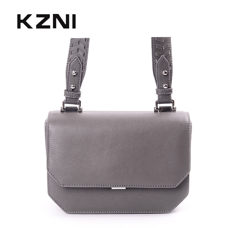 KZNI Womens Genuine Leather Crossbody Bag Female Women Leather Handbags Ladies Purses and Handbags Pochette Sac a Main 9032 kzni women genuine leather embossed bags handbags women famous brands designer handbags high quality pochette sac a main 8568