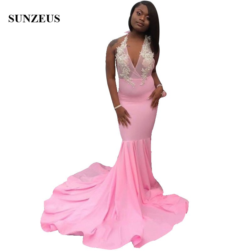 Mermaid Pink   Prom     Dresses   2019 Long Jersey Party Gowns Illusion Bodice Appliques Beaded Sexy   Prom   Robe Black Girls Prom2k19