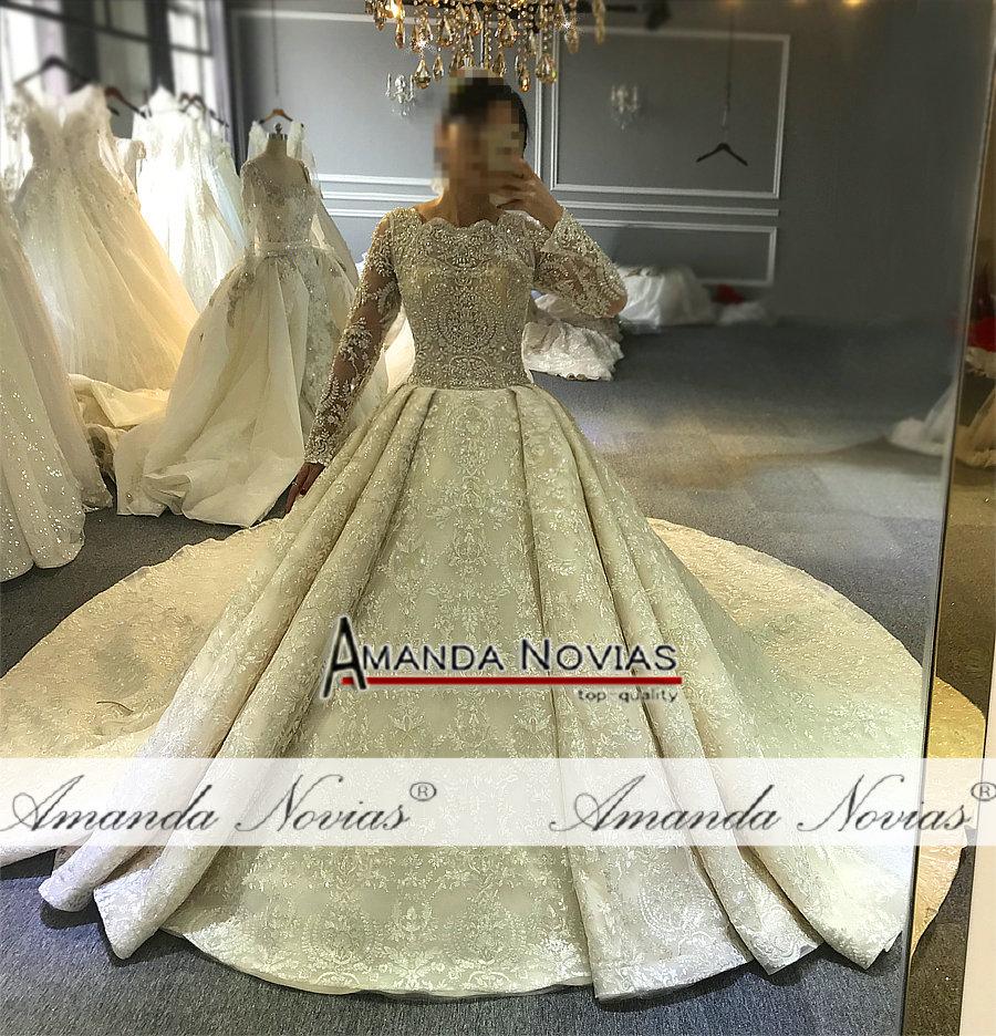 Image 5 - wedding dress 2019 full lace beading luxury sparkling wedding gown bridal dress-in Wedding Dresses from Weddings & Events