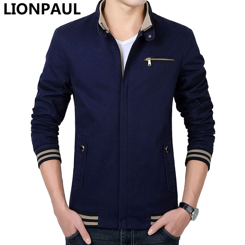 LIONPAUL Hot Mens Jackets And Coats Casual Cotton Jacket Solid Color Slim Zipper Jacket Coat Plus Size 4XL Veste Homme