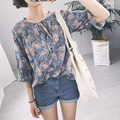 Korean women summer fashion small floral lace flounced V-neck fifth sleeve blouse for female