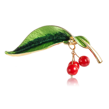 Summer Creative Cherry Brooch Lovely Fruit Leaf Female Corsage Luxury Pin Elegant Wedding Women Jewelry